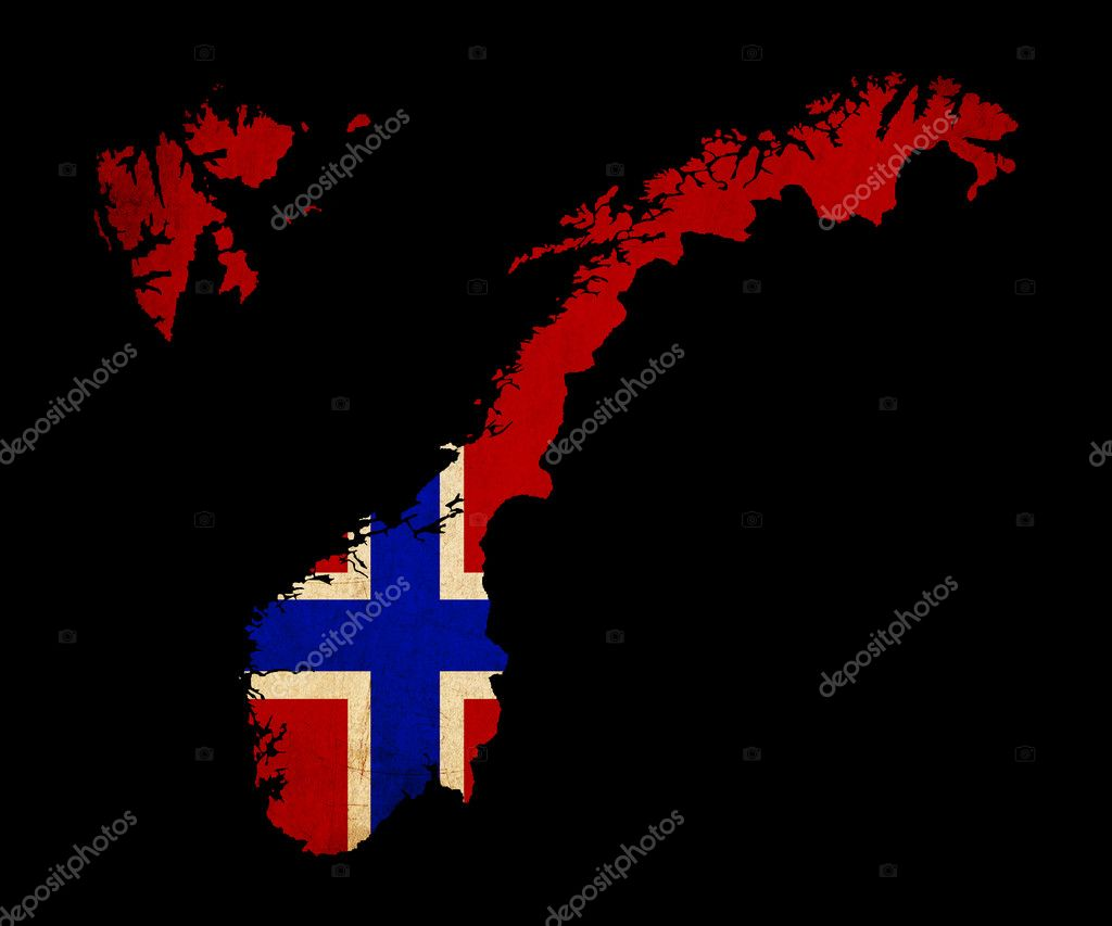 Norway Grunge Map Outline With Flag Stock Photo Veneratio - Norway map and flag