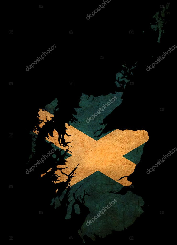 Scotland grunge map outline with flag