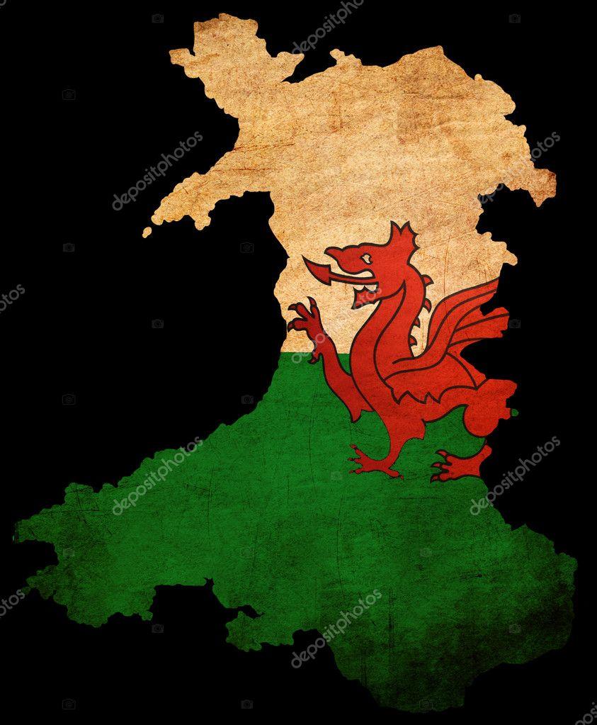 contorno del mapa de grunge con bandera de Gales — Fotos de Stock ...