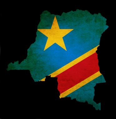 Map outline of Democratic Republic of Congo with flag grunge pap