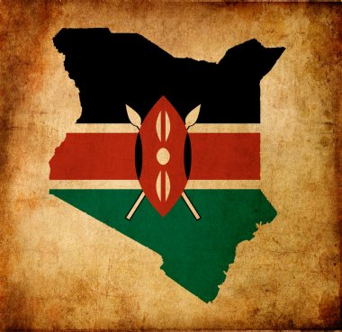 Map outline of Kenya with flag grunge paper effect