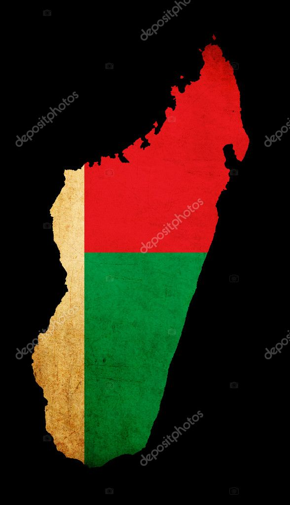 Map Outline Of Madagascar With Flag Grunge Paper Effect Stock - Madagascar map outline