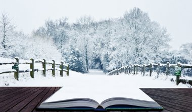 Winter wonderland snow landscape in pages of magic book