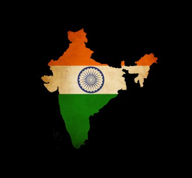 India outline map with grunge flag