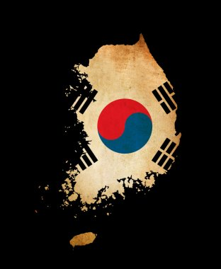 South Korea outline map with grunge flag
