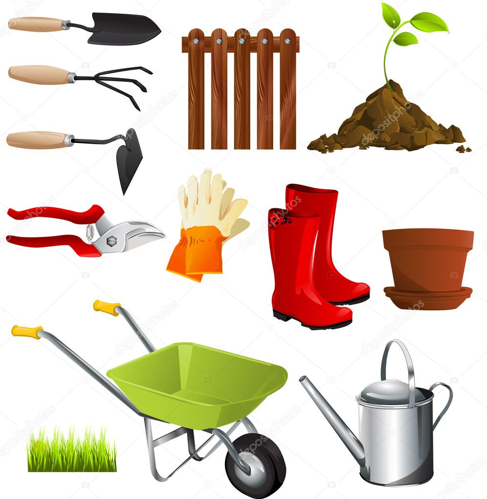 Garden tools stock vector lindwa 8049373 for Gardening tools vector