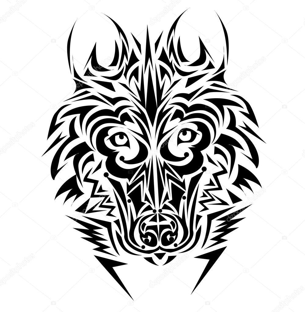 Wilk Tribal Tatuaż Styl Grafika Wektorowa Lindwa 8399142
