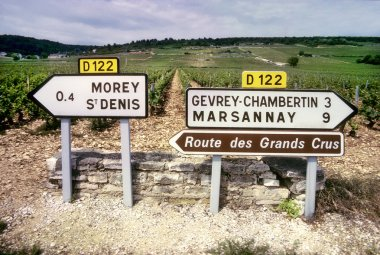 Road signs to French wine country