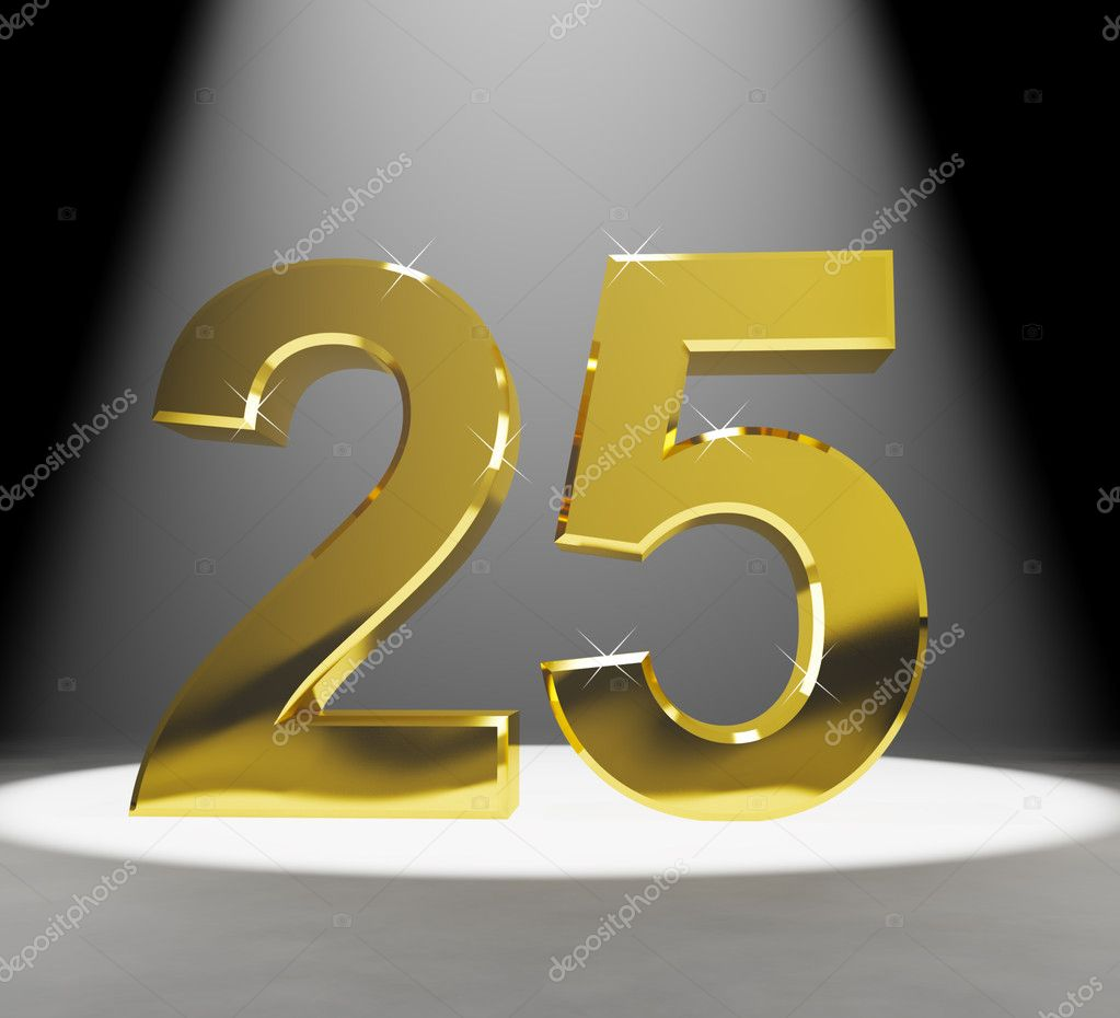 Gold 25th 3d Number Closeup Representing Anniversary Or