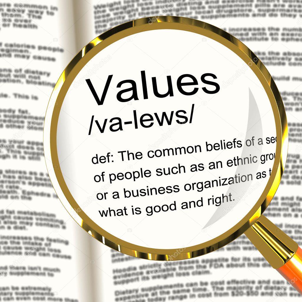 Werte Definition Lupe Zeigt Grundstze Tugend Und Morali Stockfoto