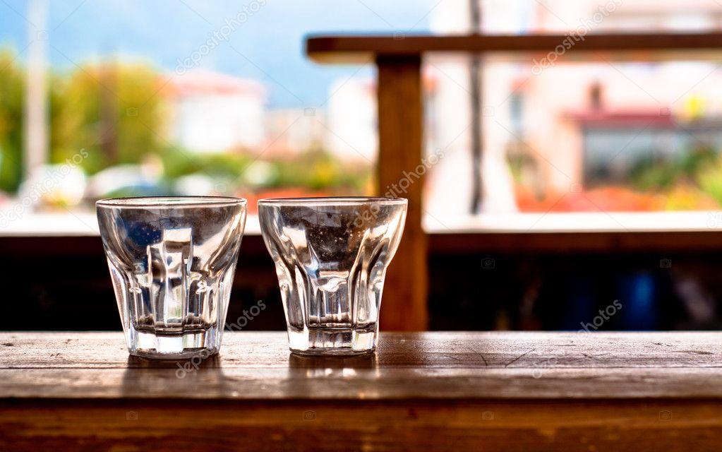 Coctail glass on the bar at a beach club