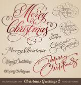 Fényképek Christmas greetings hand lettering set (vector)
