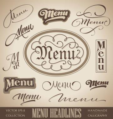 Menu hand lettered headlines set (vector)