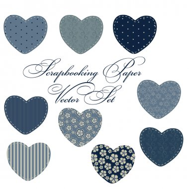Set of different hearts in denim jeans color, design elements