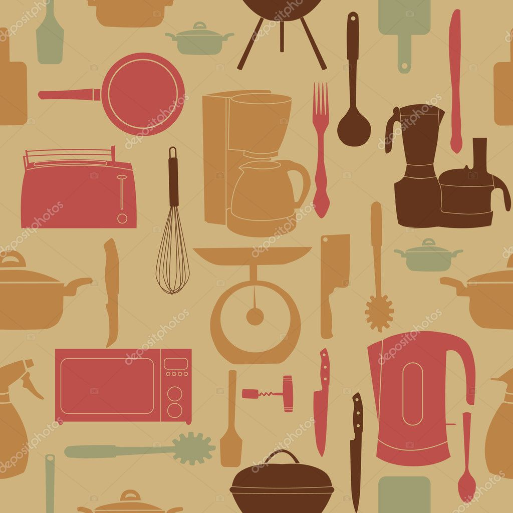 illustration seamless pattern of kitchen tools for cookin
