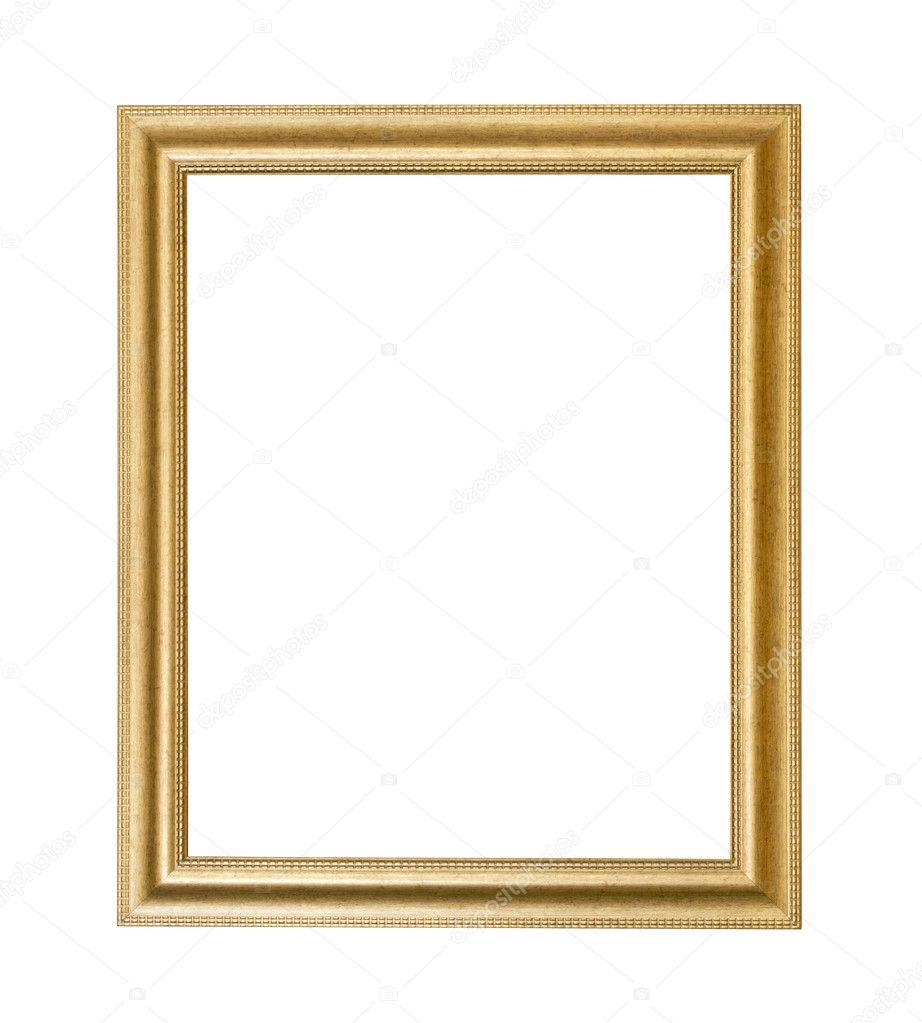 Gold photo frame over white background