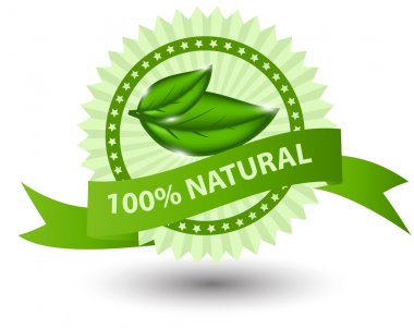 100% natural green label isolated on white illustration