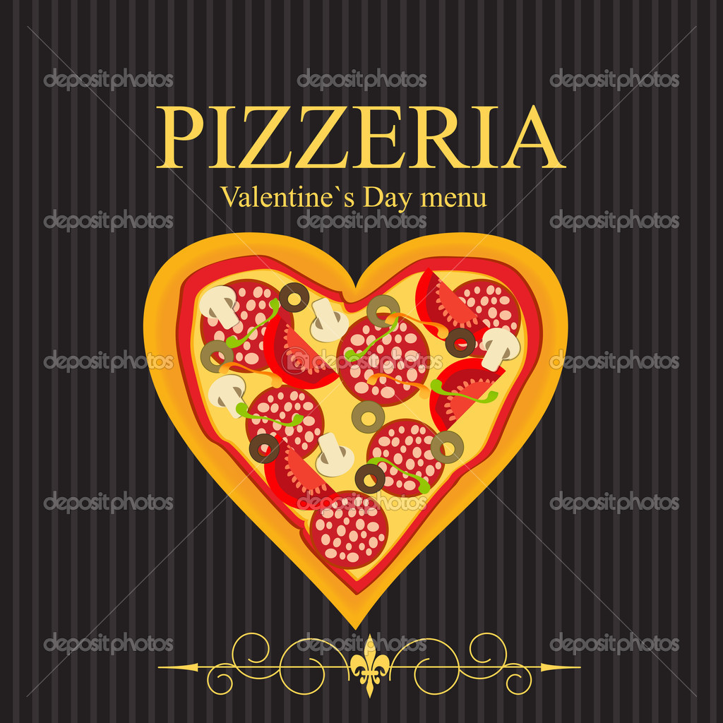 Pizza-Menü-Schablone zum Valentinstag Illustration — Stockfoto ...