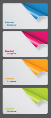 Set of gift cards with rolled corners illustration