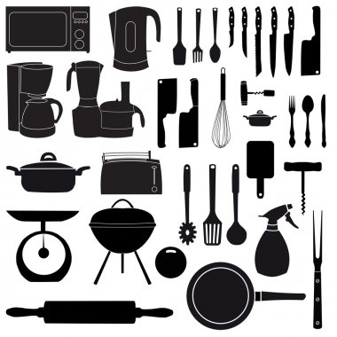 illustration of kitchen tools for cooking