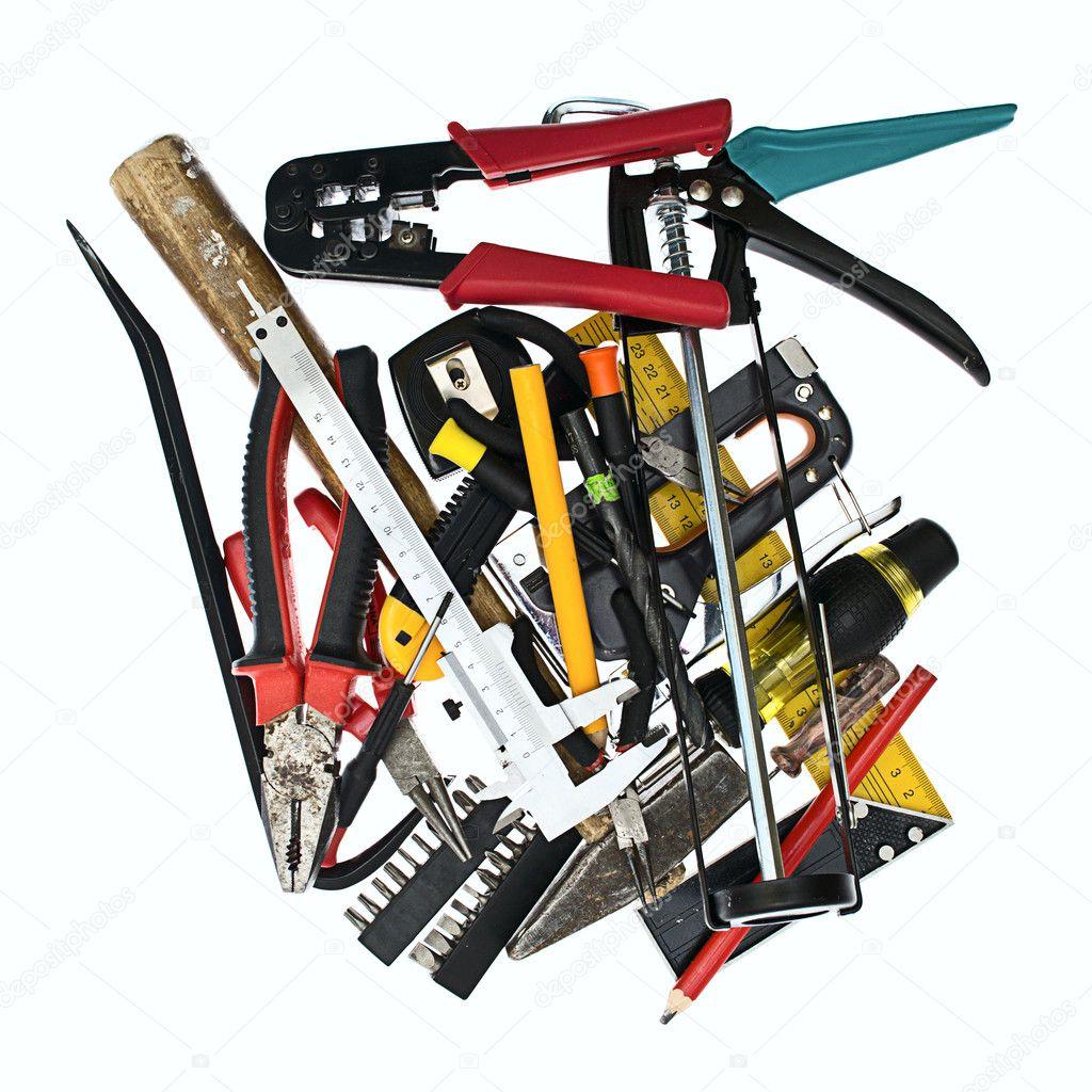 pile of construction tools isolated on white u2014 stock photo