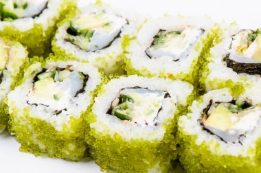 Sushi with fish and green caviar