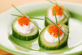 Appetizers with red caviar