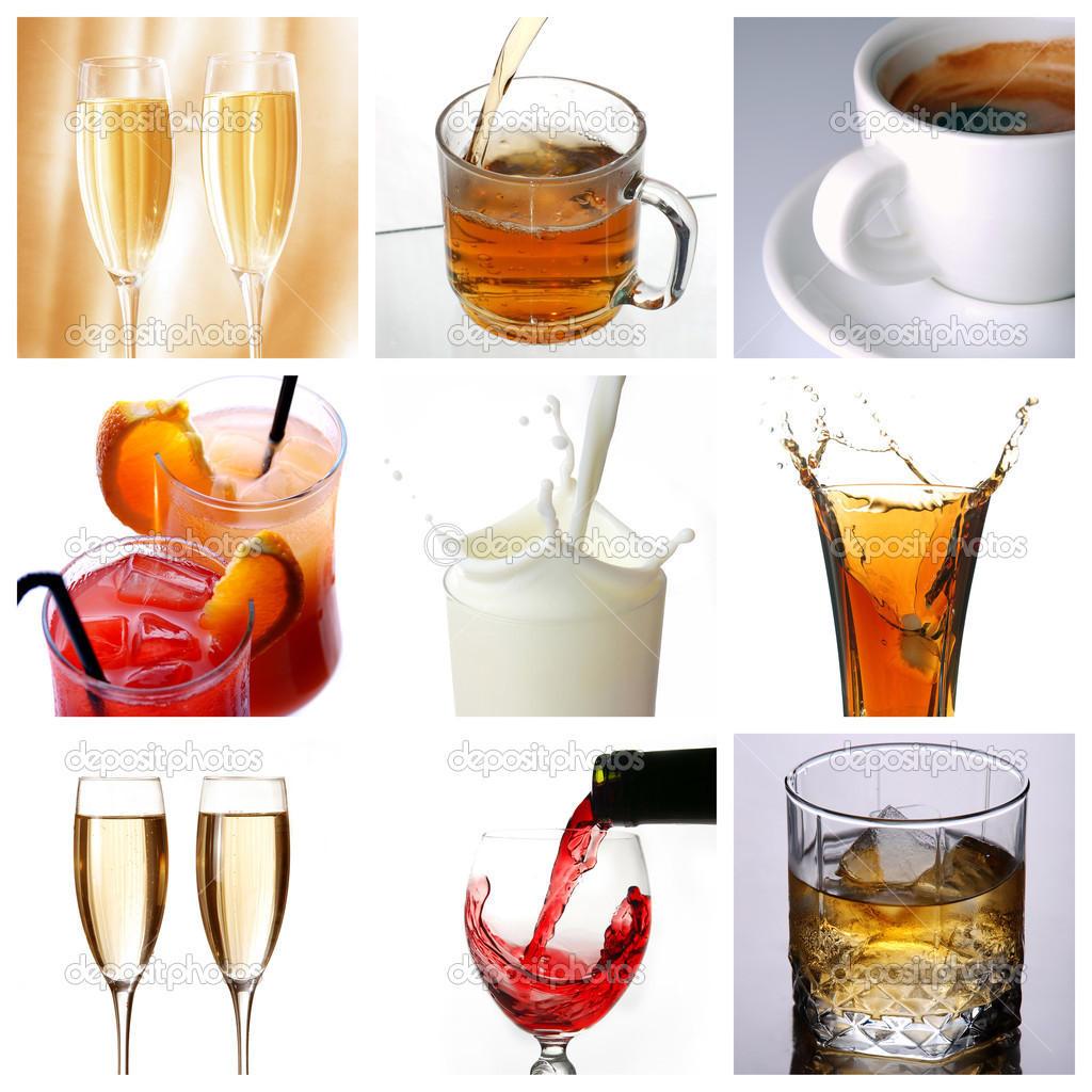 Collage of drink related pictures