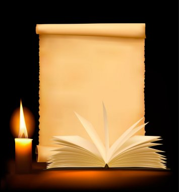 Background with old paper, candle and open book. Vector illustration.