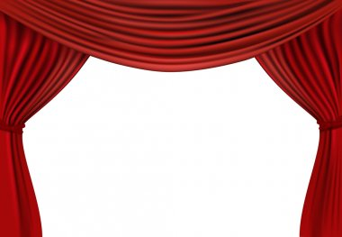 Background with red velvet curtain.