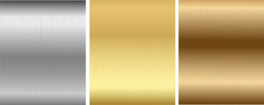 Four glossy metallic plates on a textured backgrounds. Vector illustration