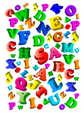 Background with colorful alphabet.
