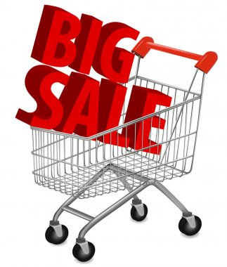 Big save in a shopping cart . Concept of discount. Vector illustration.