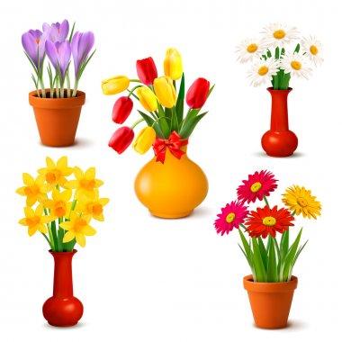 """Картина, постер, плакат, фотообои """"весной и летом красочные цветы в вазах векторная иллюстрация """", артикул 10356156"""