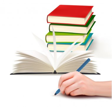 Hand with pen writing on paper and stack of book Vector illustration