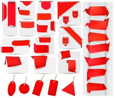 Big collection of red origami paper banners and stickers Vector illustration