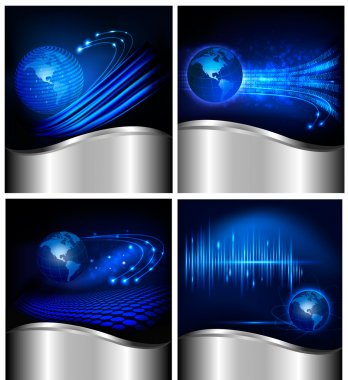 Collection of abstract technology and business backgrounds