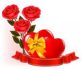 Valentýna pozadí. červené růže s červeným srdcem