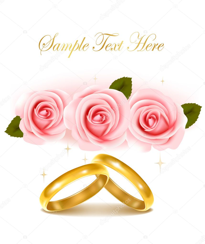 Wedding Rings Roses Clip Art - #1 Clip Art & Vector Site •