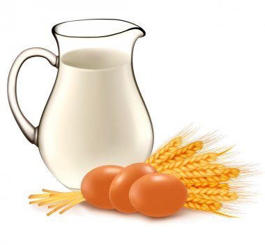 Glass jug with milk, wheat seeds and eggs. Vector illustration.