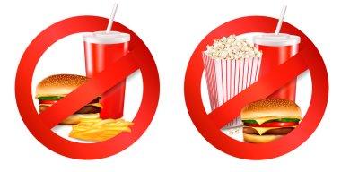 Fast food danger labels. Vector illustration.