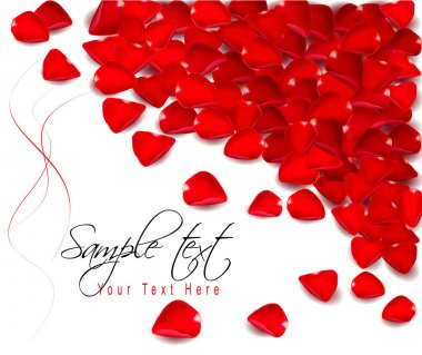 Background of red rose petals. Vector illustration.
