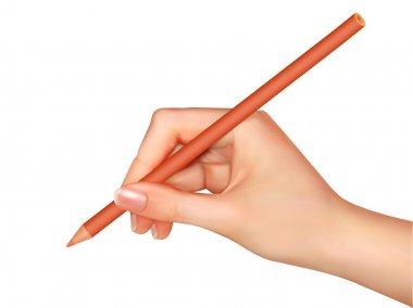 Hand holding pencil. Vector illustration