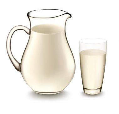 Milk jug and glass of milk. Vector illustration.
