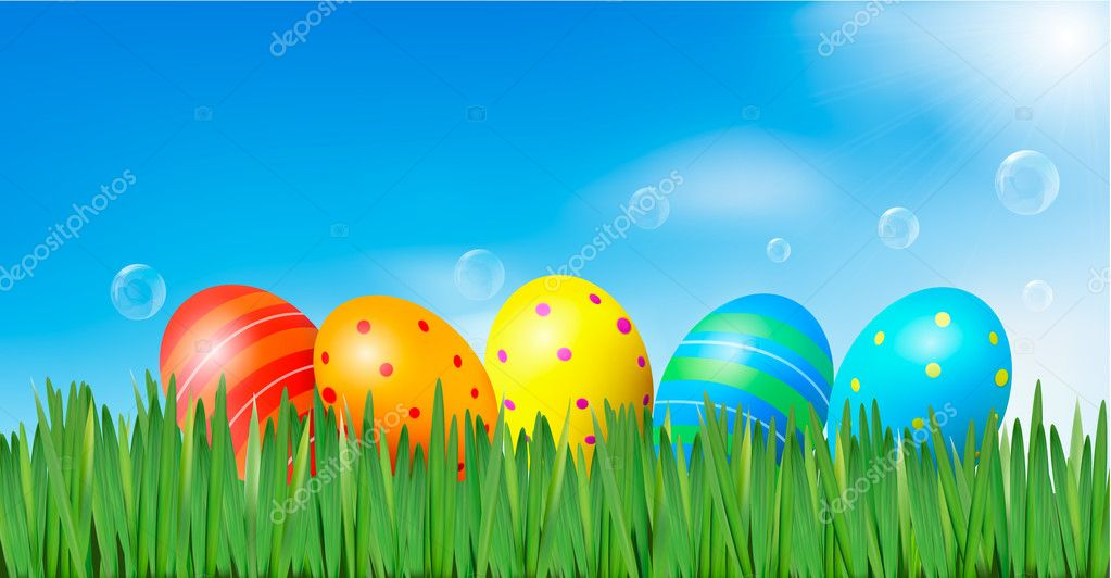 Easter background Easter eggs laying in green grass under blue sky Vector