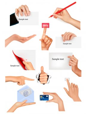Set of hands holding different business objects Vector illustration