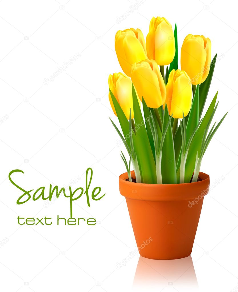 Fresh spring flowers Easter background Vector illustration