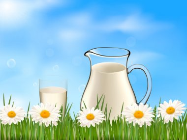 Glass of milk and jar on the on a background with daisy