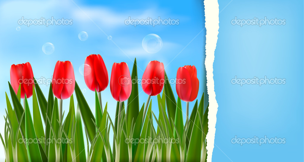 Nature background with ripped paper Vector illustration