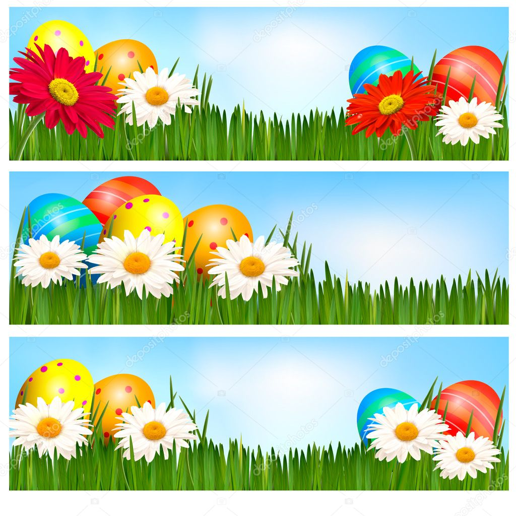 Easter banners with Easter eggs and colorful flowers. Vector illustration.